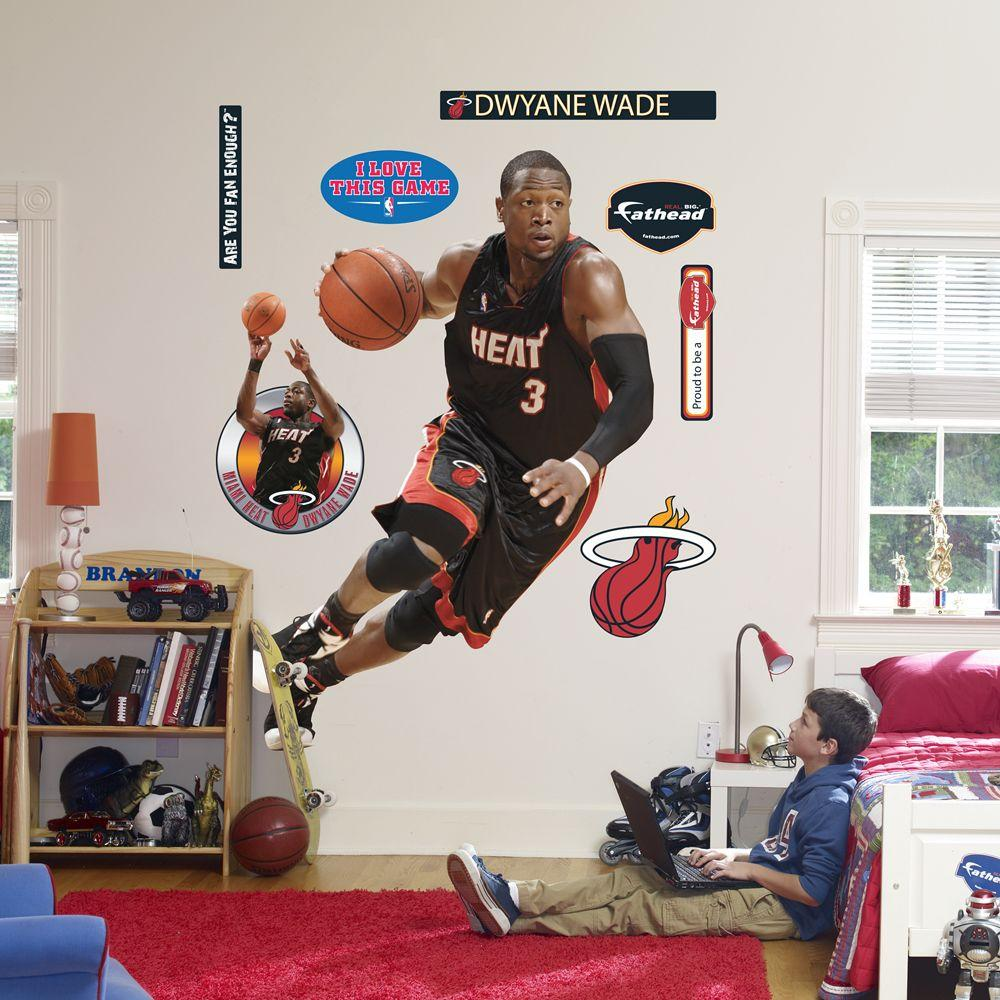 Fathead 48 in. x 69 in. Dwyane Wade Miami Heat Wall Decal
