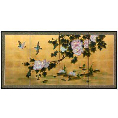 "36 in. x 72 in. ""Lilly Pad Pond on Gold Leaf"" Wall Art"