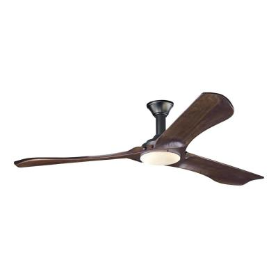 Minimalist Max 72 in. LED Indoor/Outdoor Matte Black Ceiling Fan with Walnut Blades