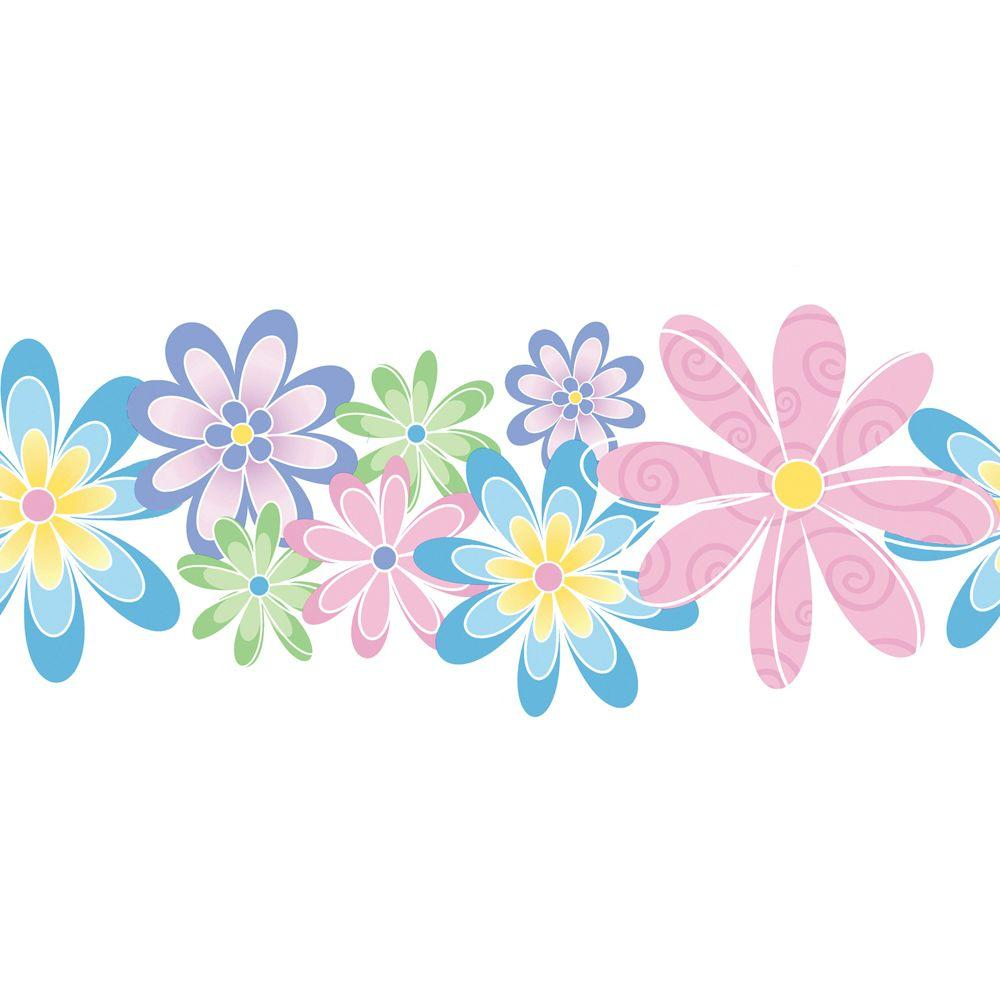 The Wallpaper Company 11 in. x 15 ft. Pastel Contemporary Flowers Border