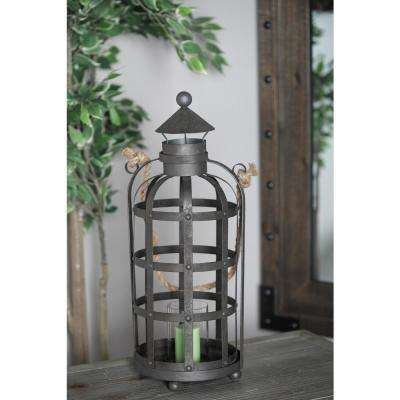 21 in. Black Cage Design Candle Lantern with Rope Handle