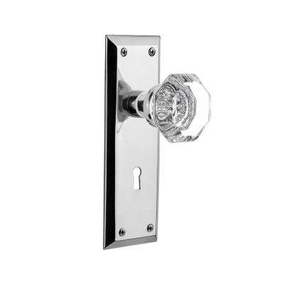 New York Plate with Keyhole Double Dummy Waldorf Door Knob in Bright Chrome