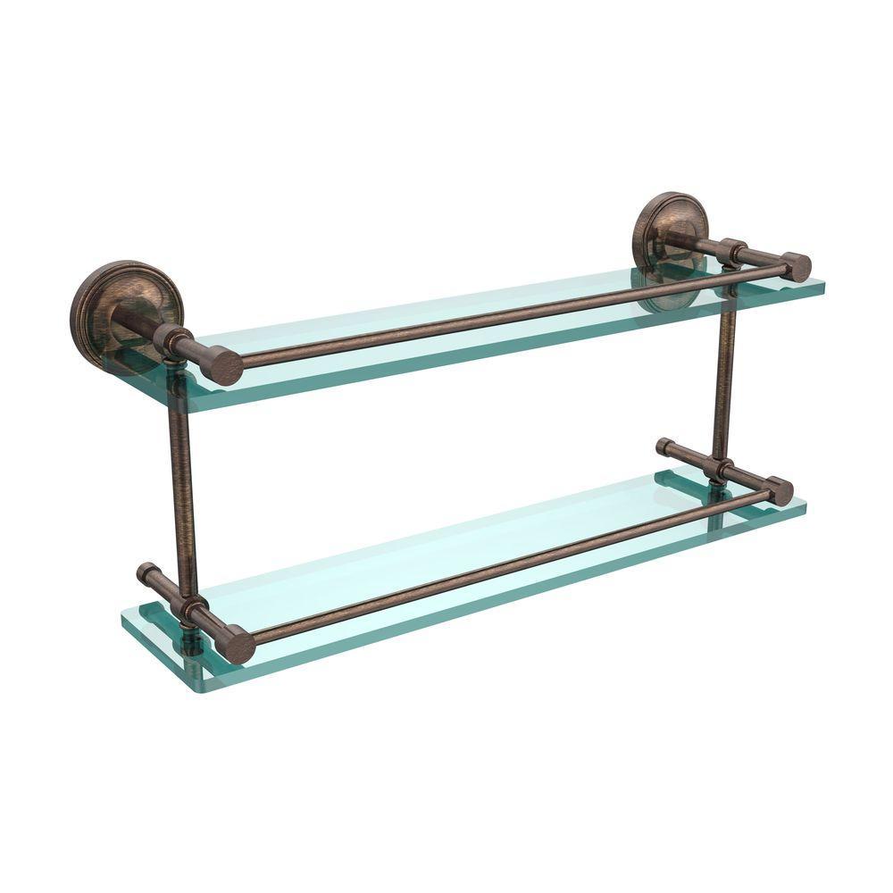 Prestige Regal 22 in. L  x 8 in. H  x 5 in. W 2-Tier Clear Glass Bathroom Shelf with Gallery Rail in Venetian Bronze