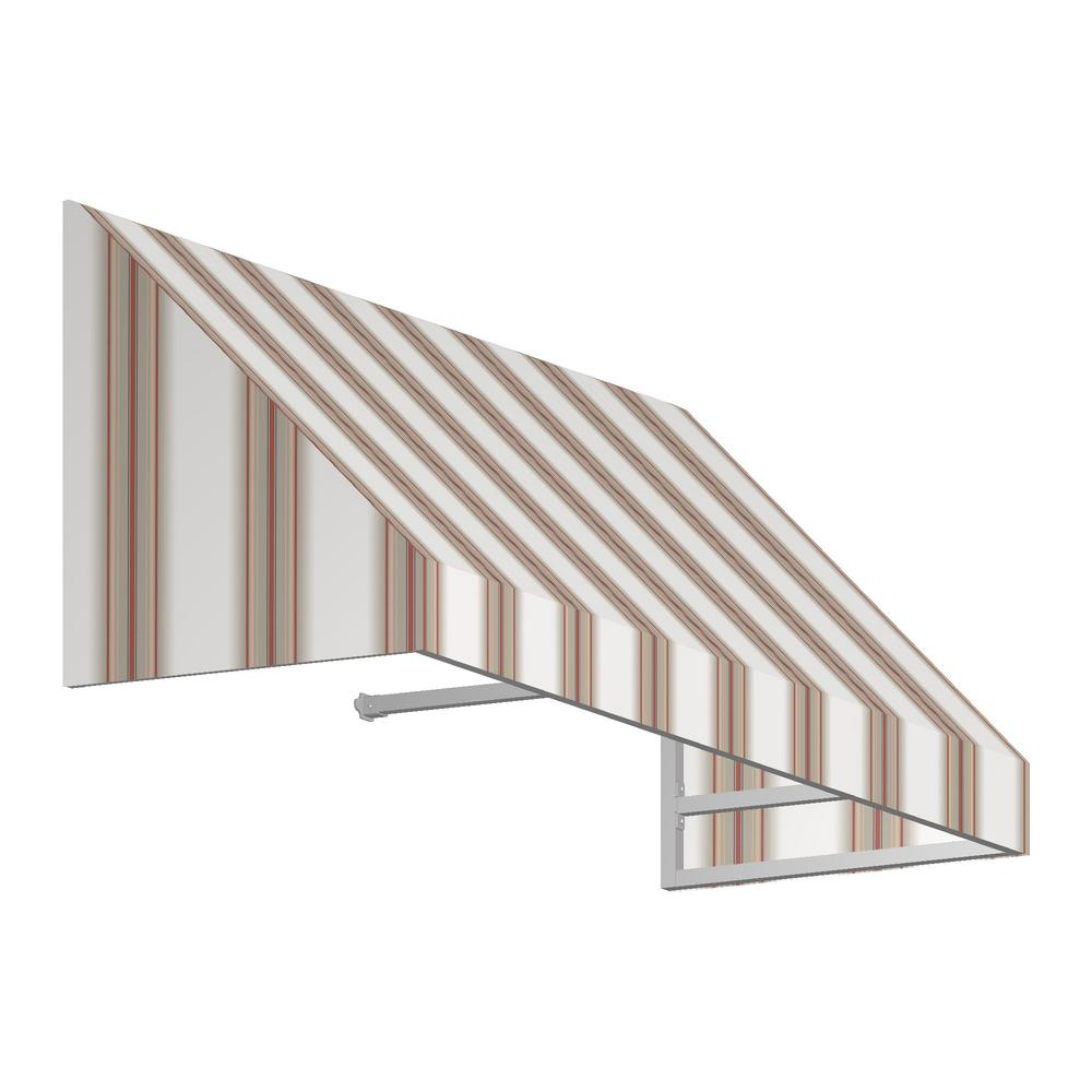 AWNTECH 5 ft. New Yorker Window Awning (31 in. H x 24 in. D) in White/Linen/Terra cotta Stripe