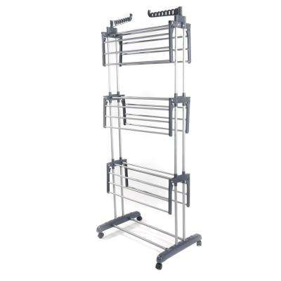 30 in. x 71 in. Aluminum Alloy and Plastic Gray Portable metal Wardrobe metal