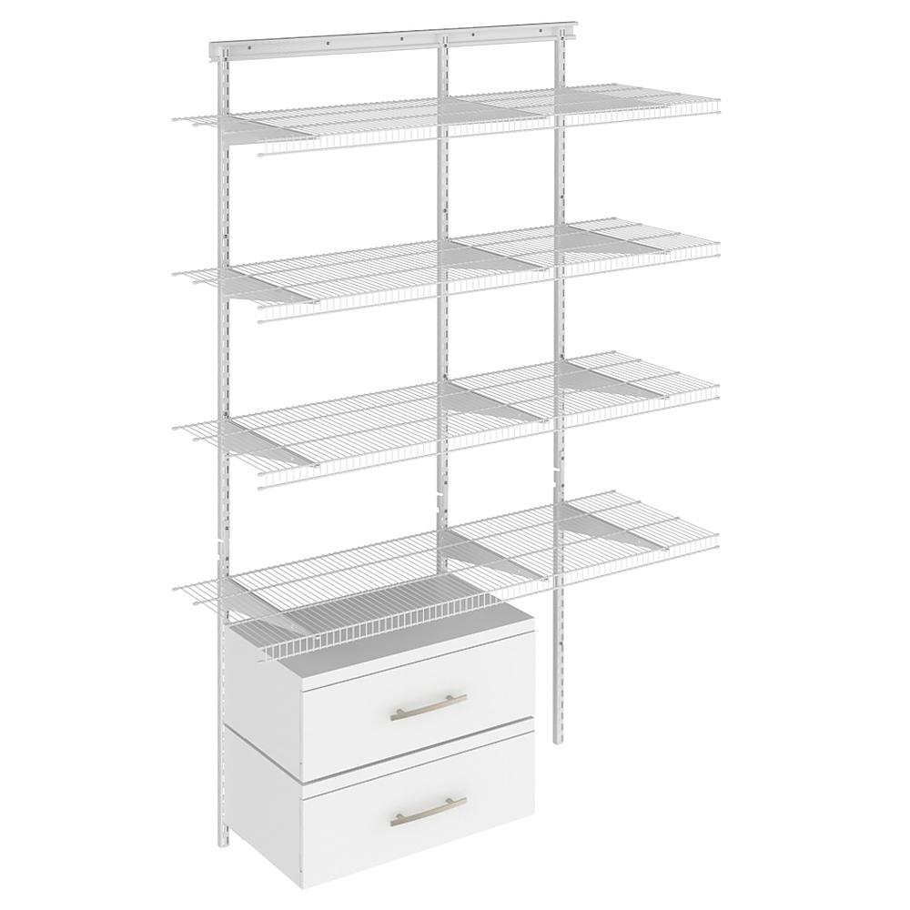 ClosetMaid ClosetMaid Shelftrack 16.75 in. D x 48 in. W x 84 in. H White Wire Adjustable Pantry Closet Kit with Laminate Drawers