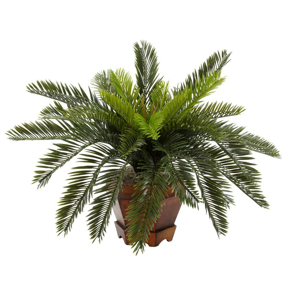 Nearly Natural 15 in. H Green Cycas with Hexagon Vase Silk Plant