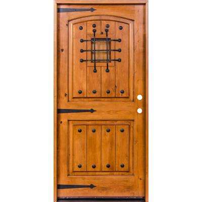 36 in. x 96 in. Mediterranean Knotty Alder Arch Top Unfinished Single Right-Hand Inswing Prehung Front Door