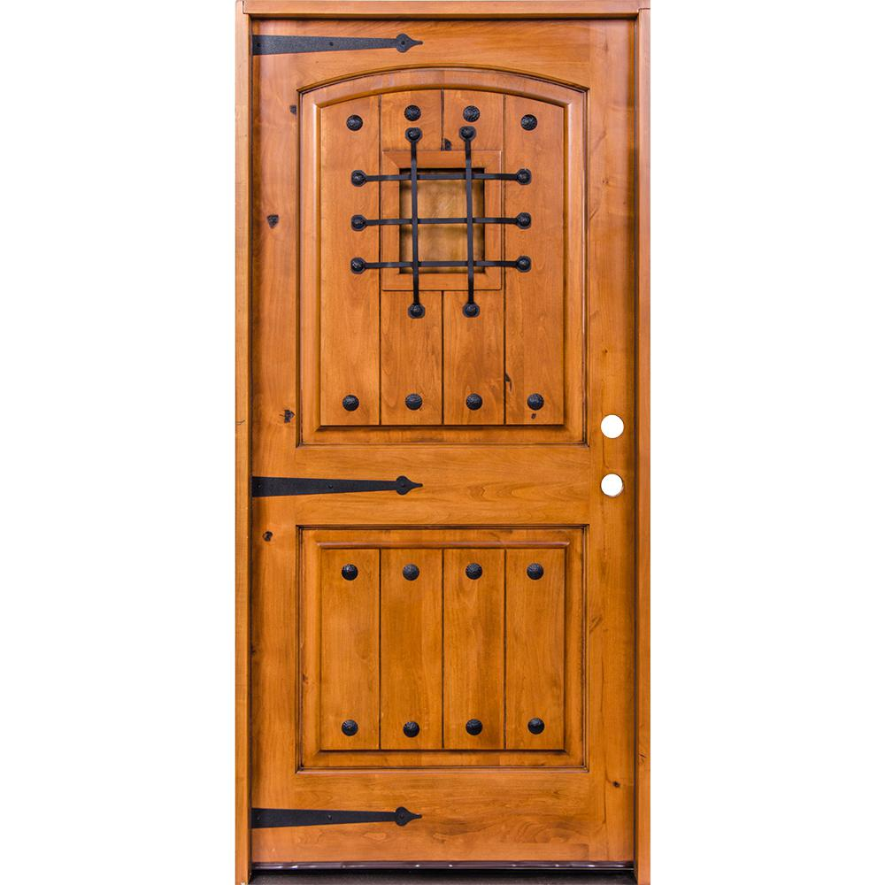 krosswood doors 42 in x 80 in mediterranean knotty alder arch top unfinished single left hand