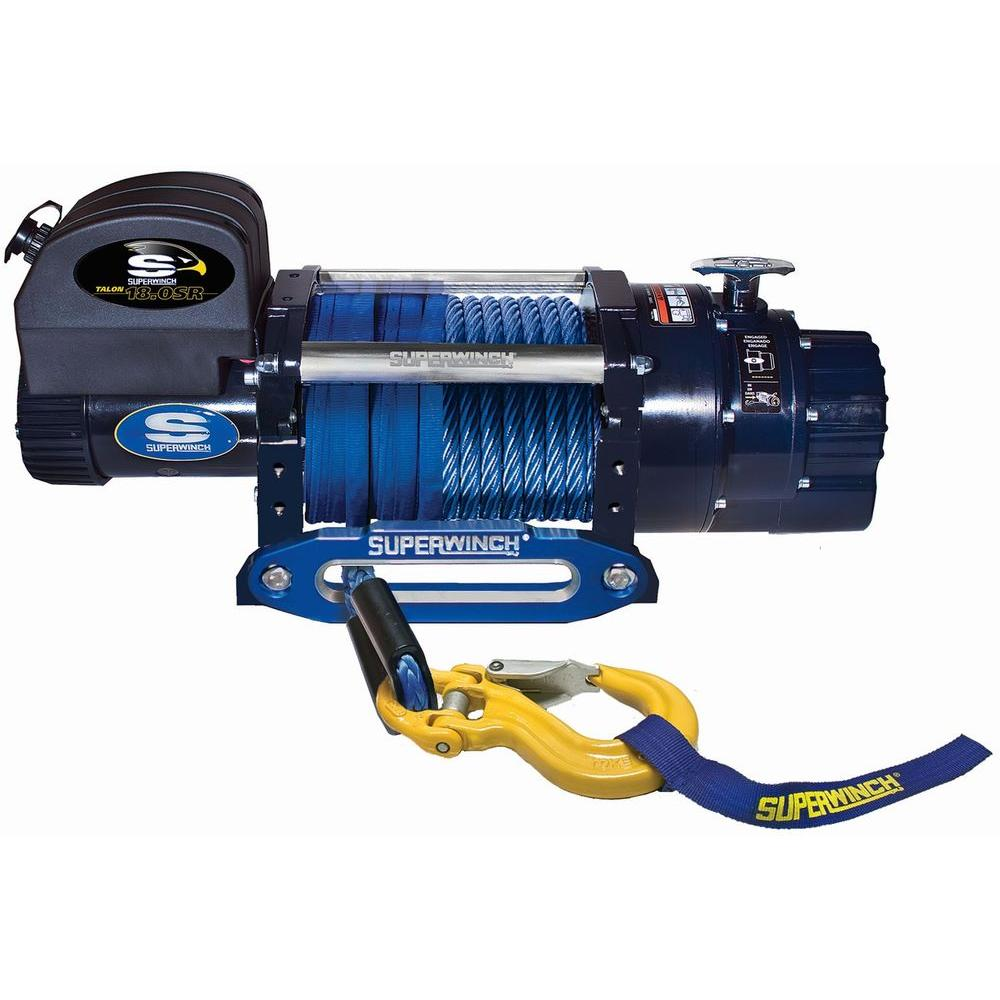 Superwinch Talon 18.0 SR 12-Volt DC Industrial Winch with Aluminum Hawse Fairlead and Synthetic Rope