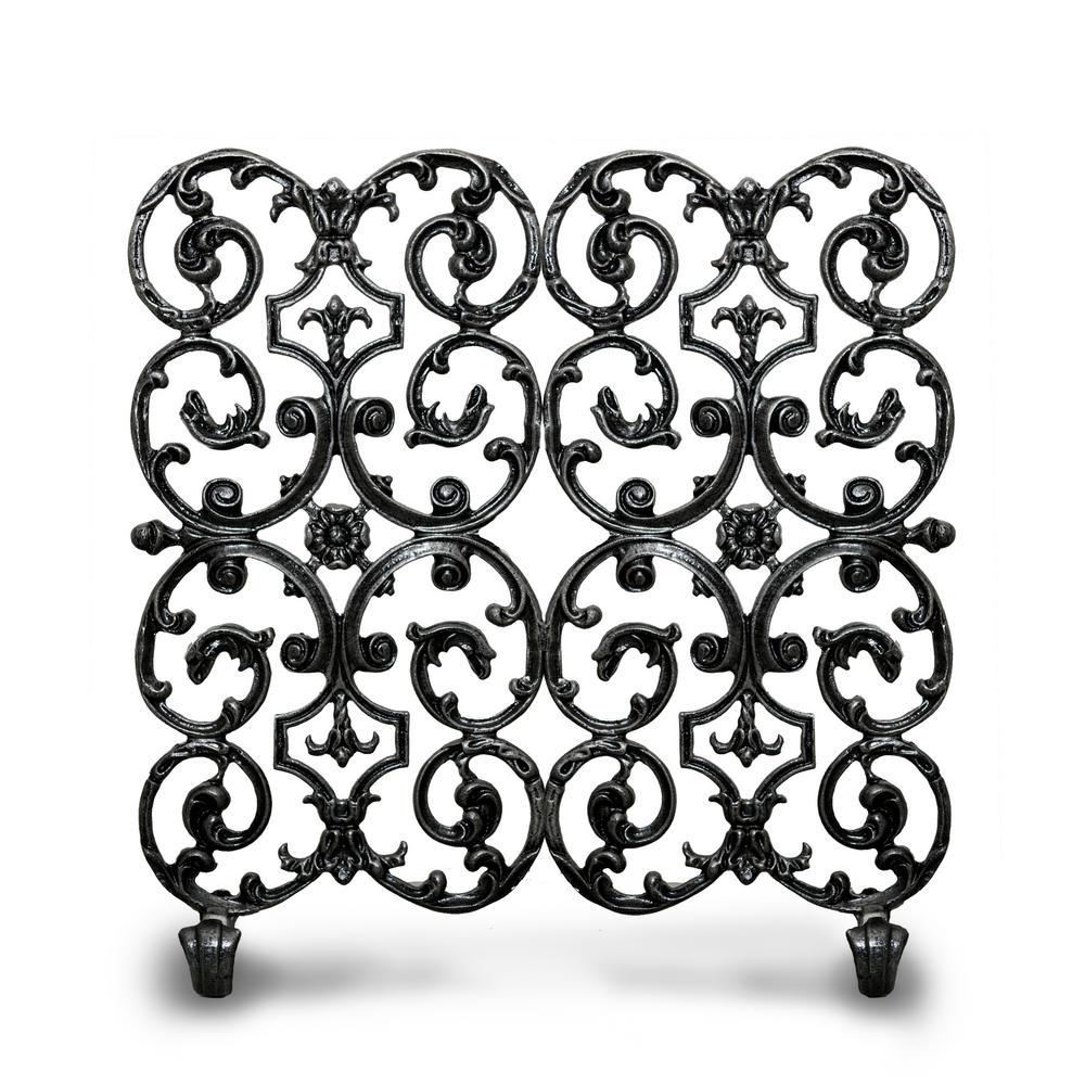 Avalon Matte Black 2-Panel 30 in. W Fireplace Screen