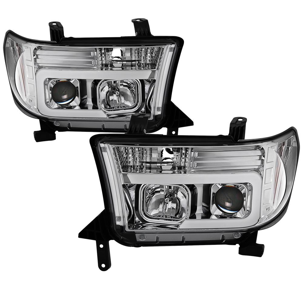 Spyder Auto Toyota Tundra 07-13 / Toyota Sequoia 08-13 Version 2 Projector  Headlights - Light Bar DRL - Chrome