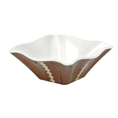 Sports Football 4 in. 4-Piece Brown/White Dip Bowl Set