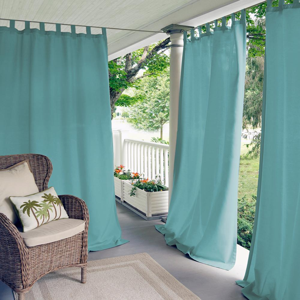 Elrene Matine Solid Tab Top Indoor Outdoor Window Curtain
