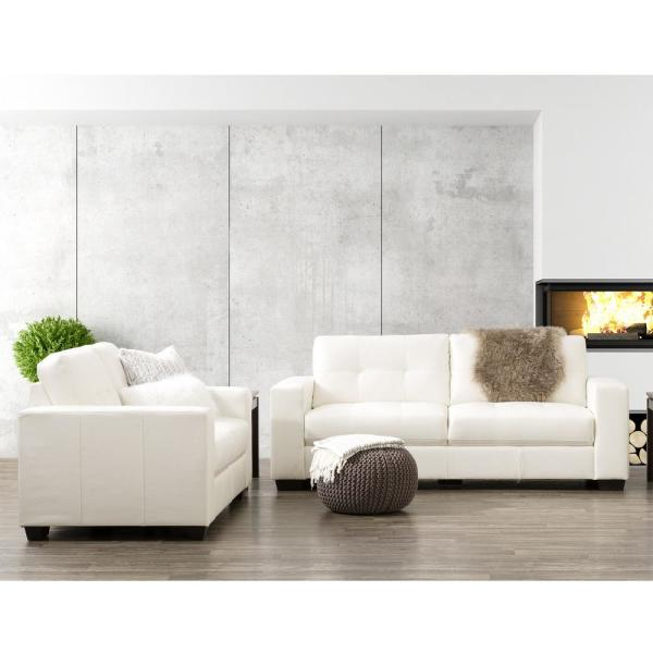 CorLiving Club 2-Piece Tufted White Bonded Leather Sofa Set LZY-111-Z2