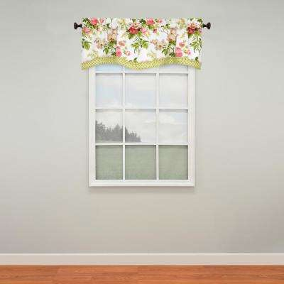 18 in. L Emma's Garden Cotton Lined Window Valance in Blossom