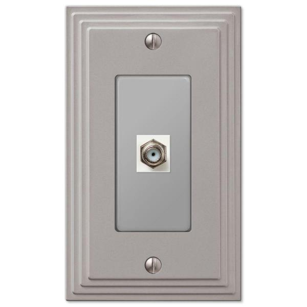 Tiered 1 Gang Coax Metal Wall Plate - Satin Nickel