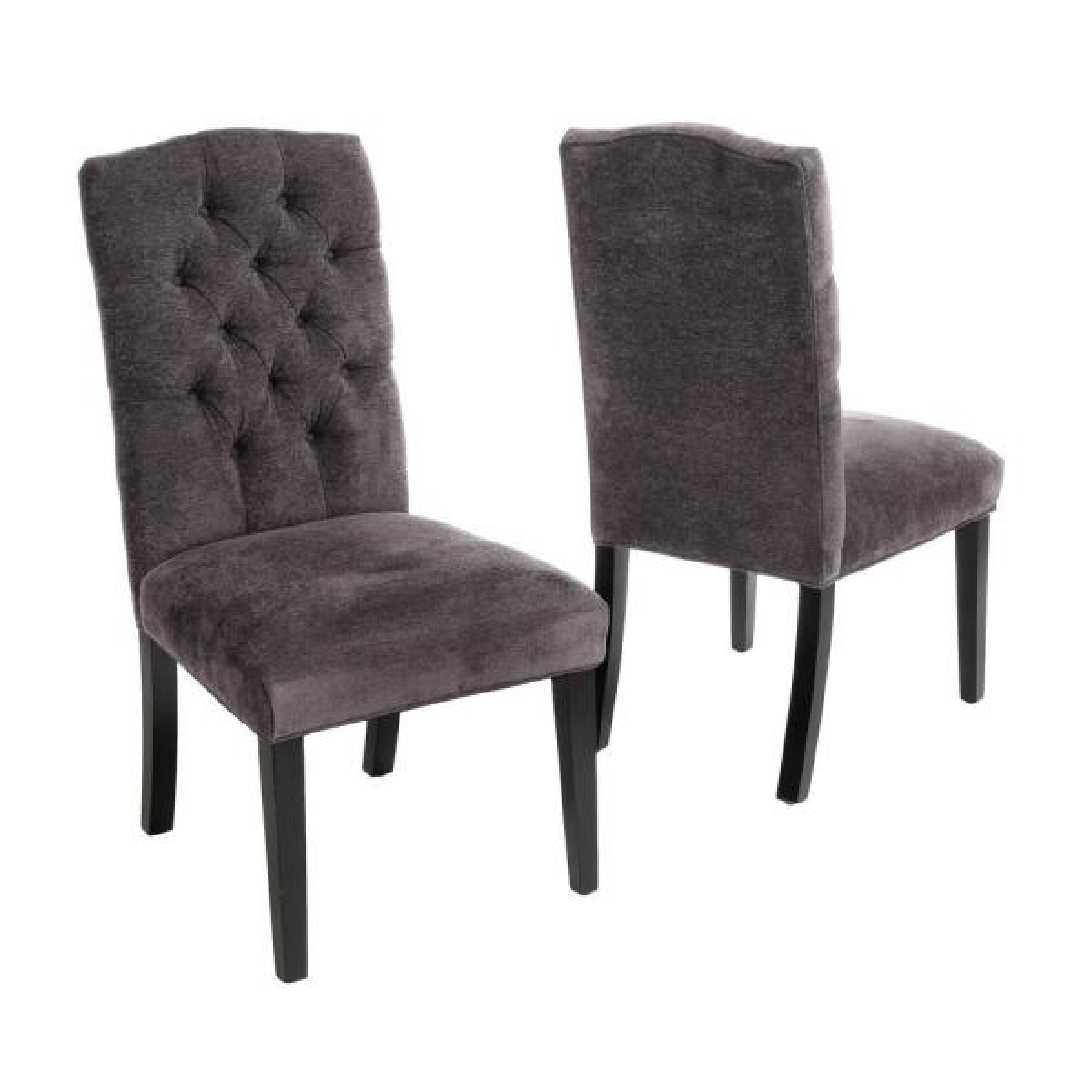 Crown Dark Grey Linen Dining Chair (Set of 2)