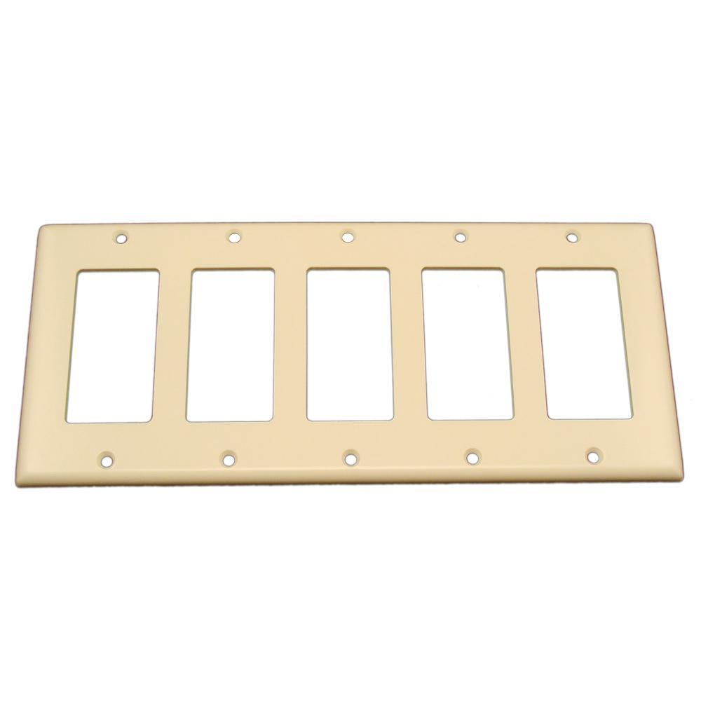5-Gand Decora Rocker Switch Wall Plate, Light Almond