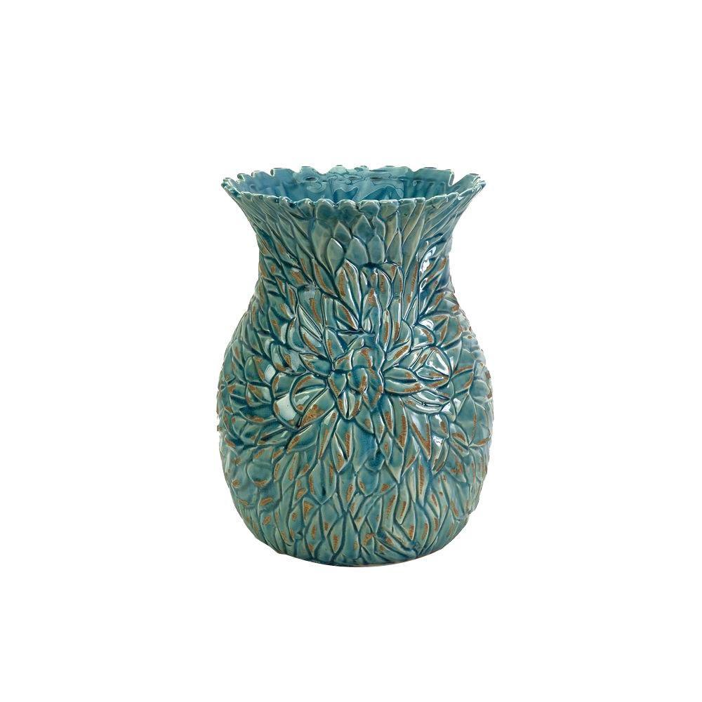 Filament Design Lenor 12.25 in. Ceramic Decorative Vase in Aqua