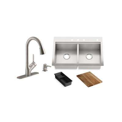 Lyric Workstation 33 in.Dual Mount Stainless Steel Double Bowl Kitchen Sink with Setra Smarthome Kitchen Faucet