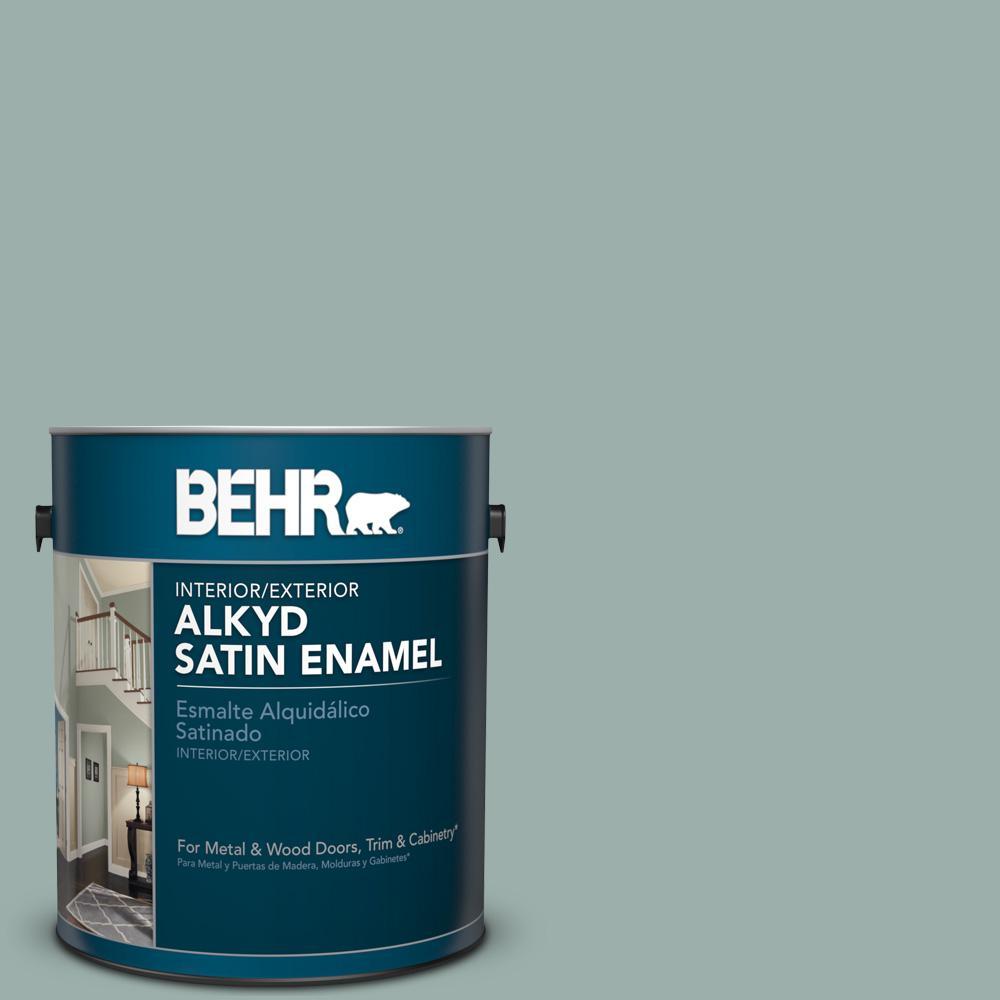 1 gal. #490F-4 Gray Morning Satin Enamel Alkyd Interior/Exterior Paint