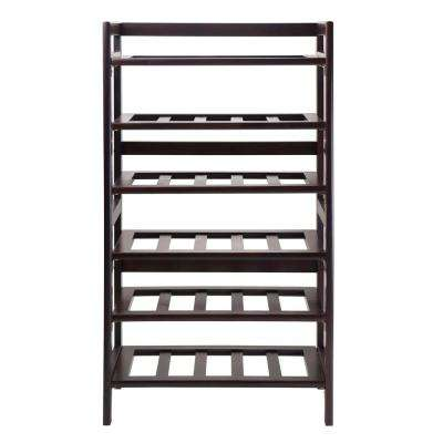 Silvi 30-Bottle Walnut Floor Wine Rack