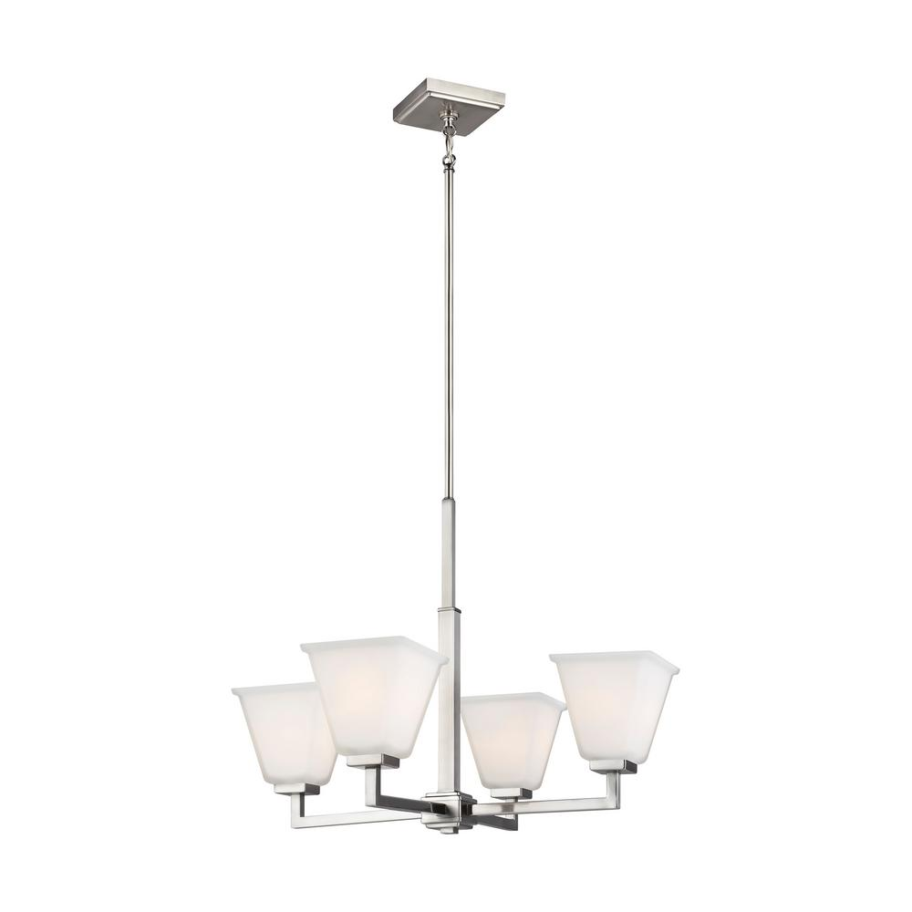 Sea Gull Lighting Ellis Harper 4-Light Brushed Nickel Chandelier with Etched White Glass Shades