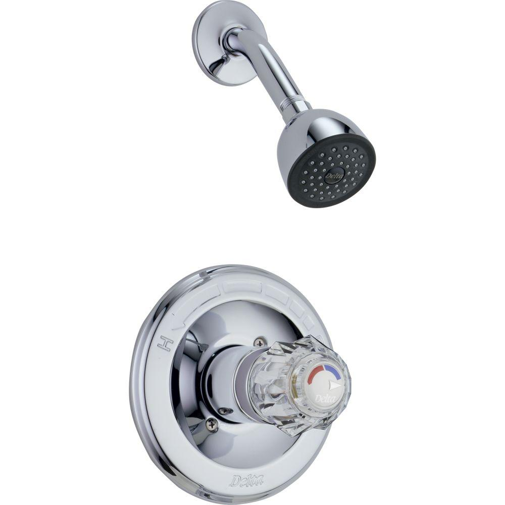 Delta Clic Single Handle 1 Spray Shower Faucet In Chrome Valve Included