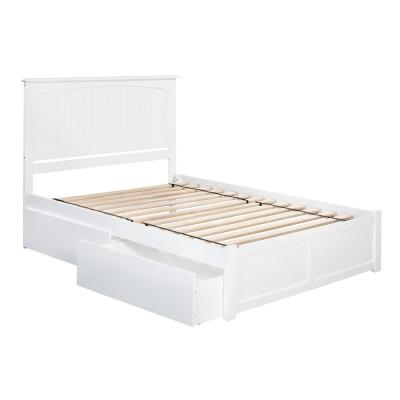 Nantucket King Platform Bed with Flat Panel Foot Board and 2-Urban Bed Drawers in White