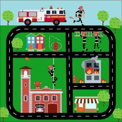Firetruck Play Town Mult-Color 4 ft. x 4 ft. Kids Rug
