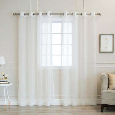 84 in. L White Sheer Star Cut Out Curtain (2-Pack)