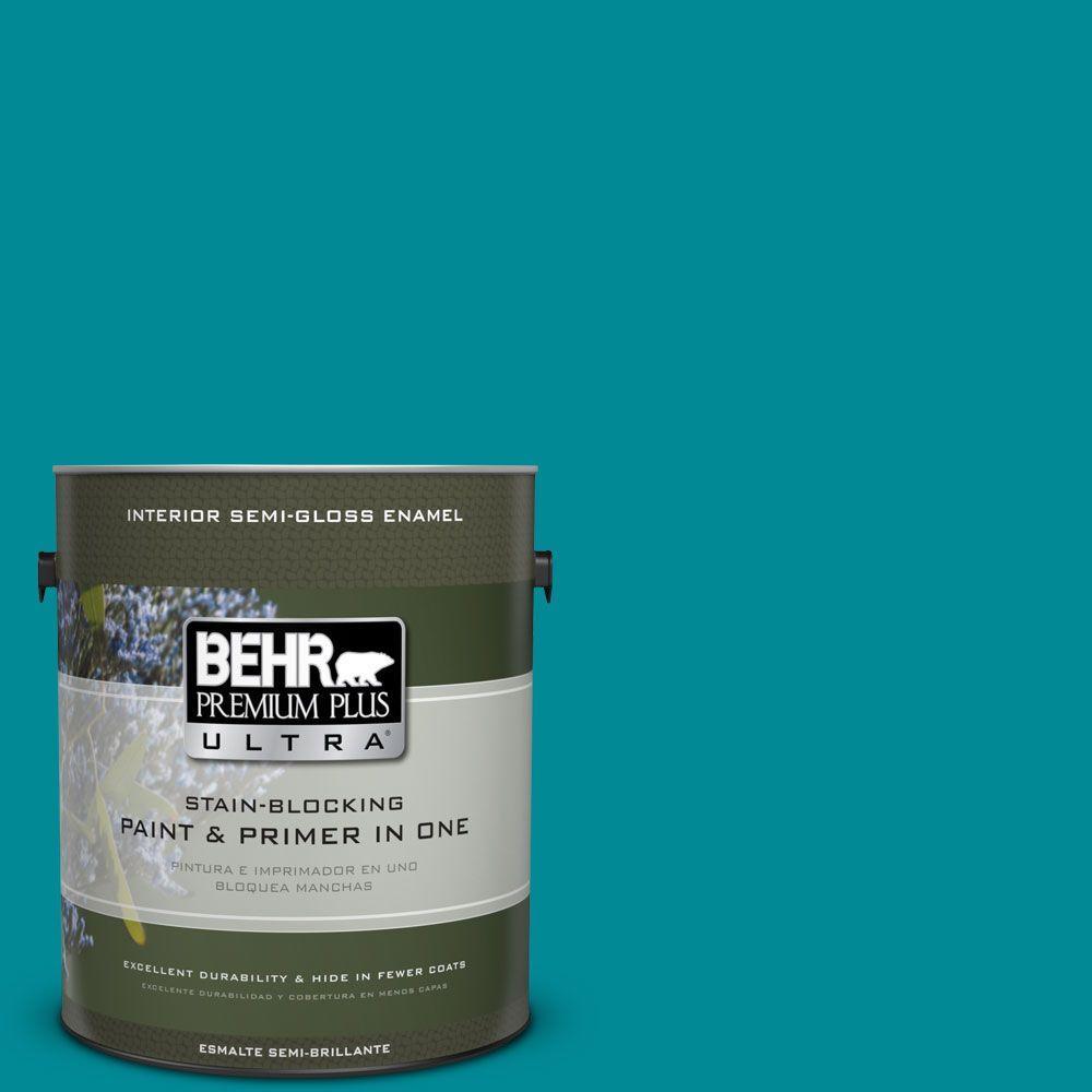 1 gal. #HDC-SM16-06 Blue Slushie Semi-Gloss Enamel Interior Paint