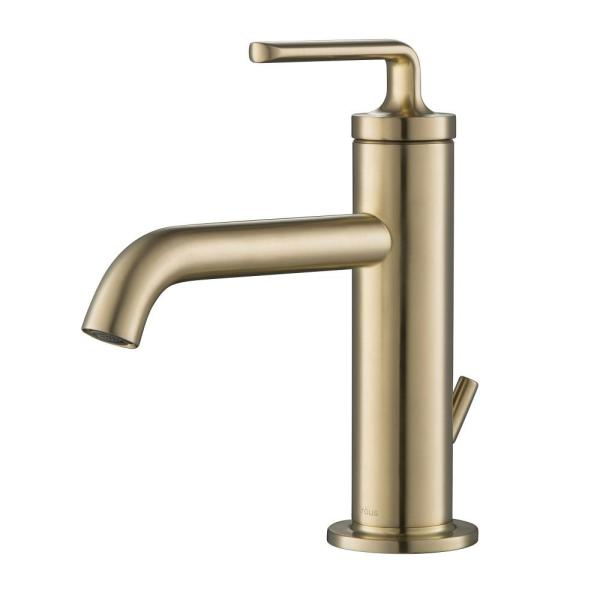 Ramus Single Hole Single-Handle Bathroom Faucet with Matching Lift Rod Drain in Brushed Gold