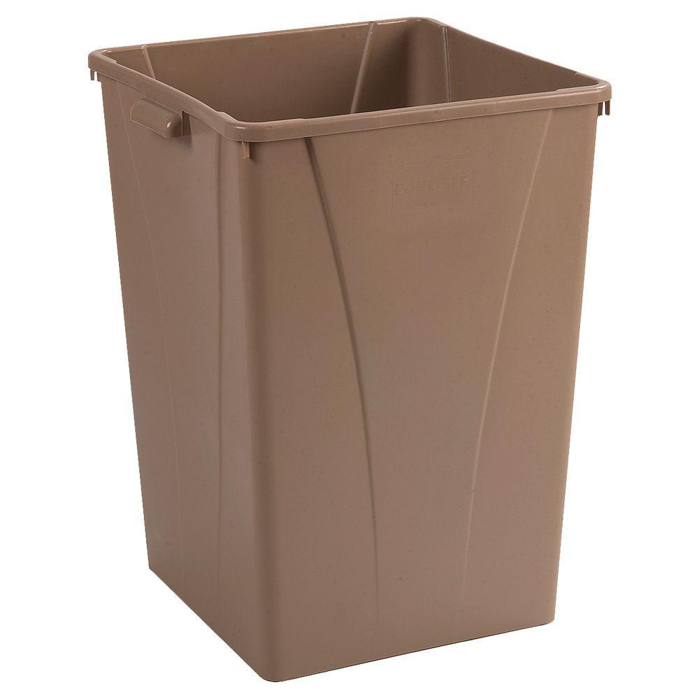 Centurian 35 Gal. Beige Square Trash Can (4-Pack)