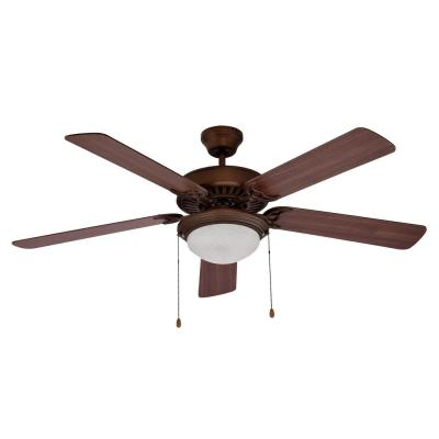 52 in. 1-Light Oil Rubbed Bronze Ceiling Fan with Light and Pull Chain