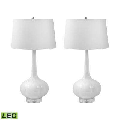 Del Mar 32 in. White Porcelain LED Table Lamp in White