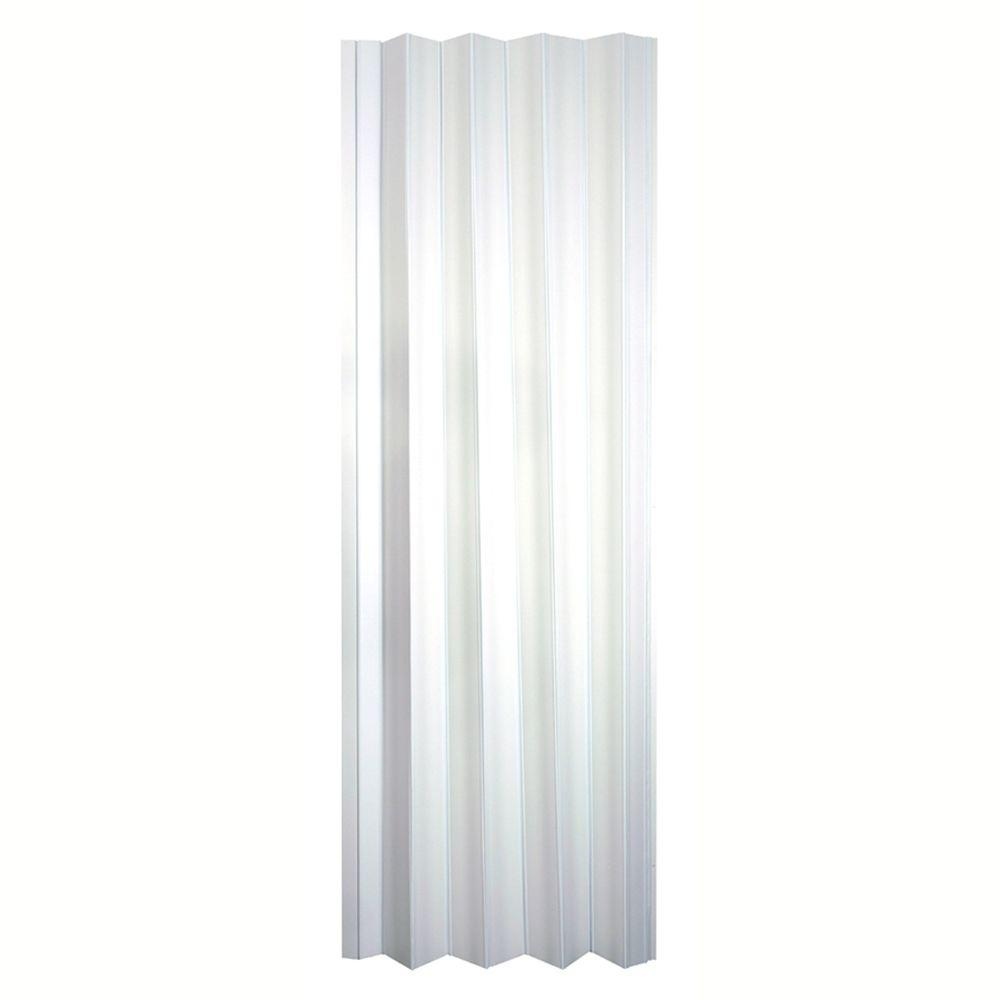 Spectrum 36 in x 80 in via vinyl white accordion door for Accordion doors