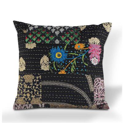Patchwork Black / Multi-color 20 in. x 20 in. Kantha Hand Crafted SquareThrow Pillow