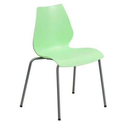 Green Stack Chair with Lumbar Support and Silver Frame