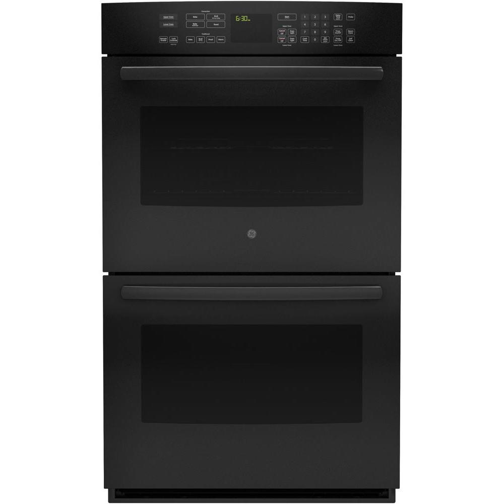 GE 30 in. Double Electric Smart Wall Oven Self-Cleaning with Convection and WiFi in Black