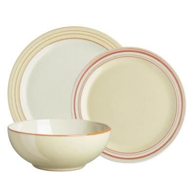 Heritage Veranda 12-Piece Contemporary Yellow Ceramic Dinnerware Set (Service for 12)