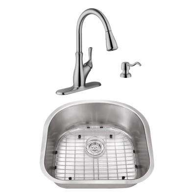 Undermount Stainless Steel 23-1/4 in. D-Shape Single Bowl Utility Sink with Brushed Nickel Faucet