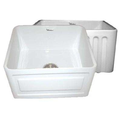 Raised Panel Reversible Farmhaus Series Apron Front Fireclay 20 in. Single Bowl Kitchen Sink in White