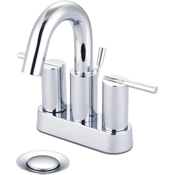 i2v 4 in. Centerset 2-Handle High-Arc Bathroom Faucet with 50/50 Drain in Polished Chrome