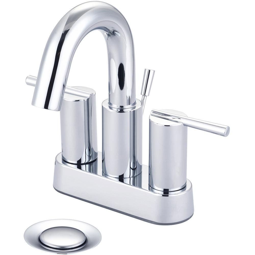 i2v 4 in. Centerset 2-Handle High-Arc Bathroom Faucet with Brass Drain in Polished Chrome