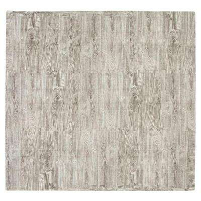 Wood Grain Black and White 56 in. x 56 in. EVA Floor Mat Set