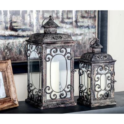 Rustic Distressed Brown Iron and Glass Candle Lantern with Scrollwork (Set of 2)
