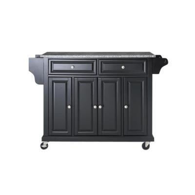 Full Size Black Kitchen Cart with Granite Top
