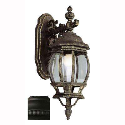 Filigree 1-Light Outdoor Black Coach Lantern with Clear Glass